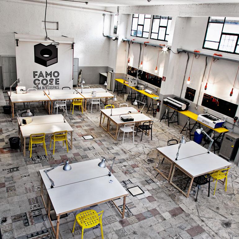 Ristrutturazione commerciale del laboratorio Famo Cose Maker Space a Roma.
